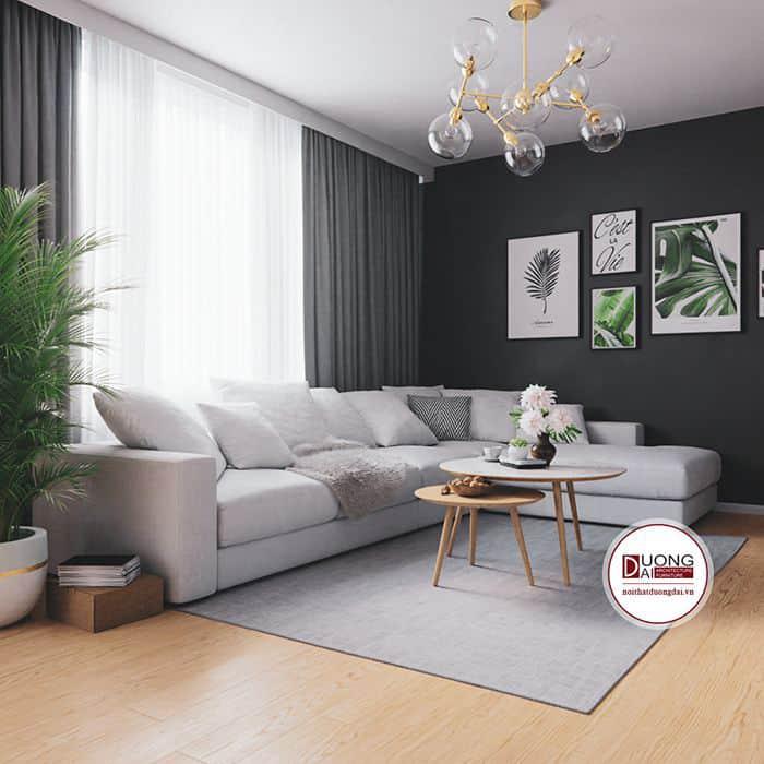 Gỗ tôn lên nét hiện đại và đầy thanh nhã cho phòng khách