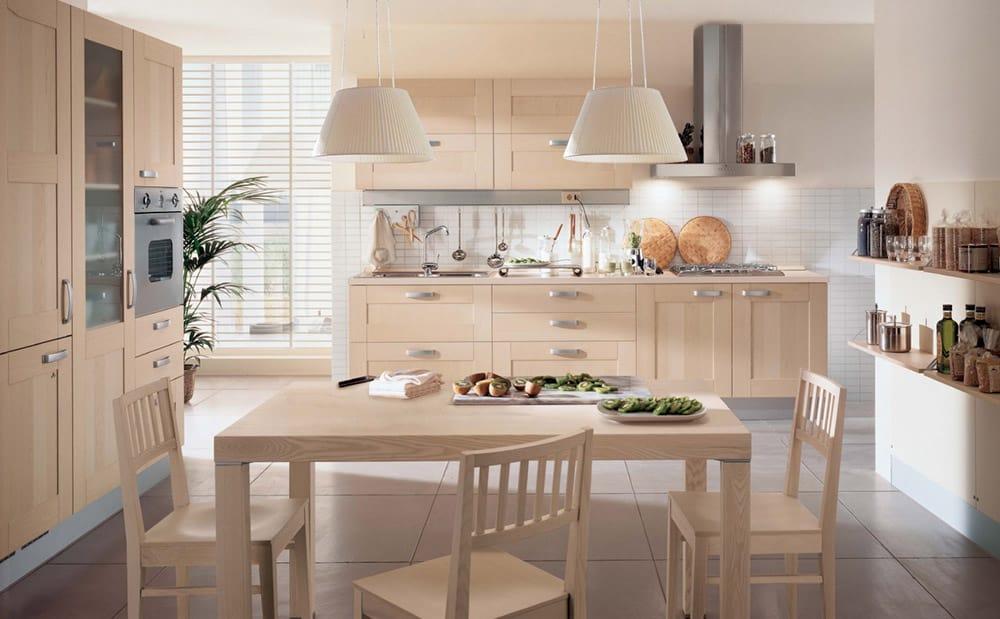Tủ bếp từ gỗ tần bì có màu sắc sáng và trang nhã