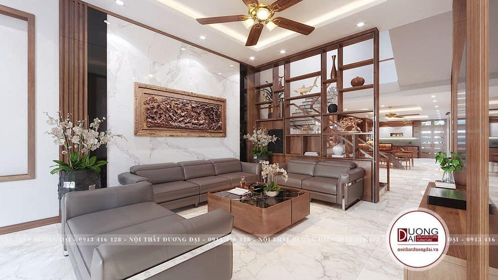 Phòng khách ấn tượng với phong cách hiện đại có kệ trang trí đẹp mắt