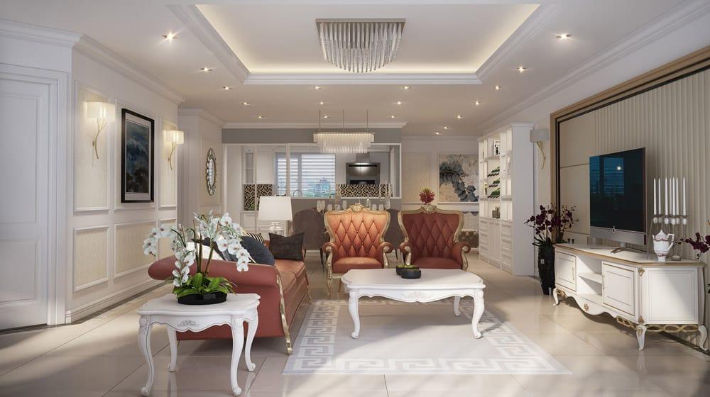 Phòng khách chung cư nhỏ bài trí mẫu kệ tivi trắng sang trọng