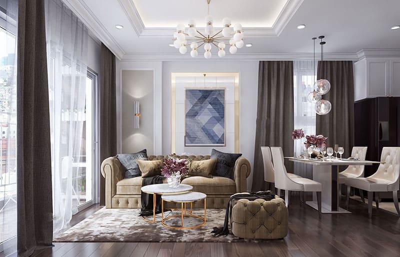 Thiết kế phòng khách tân cổ nhỏ gọn với cách trang trí đơn giản