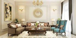 Phòng khách nhà phố theo phong cách tân cổ điển