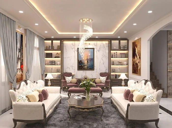 Mẫu thiết kế phòng khách đầy trang nhã với gam màu trắng