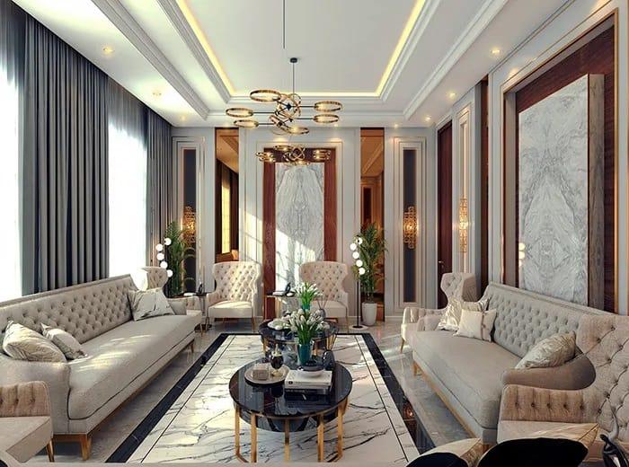 Mẫu phòng khách khép kín theo phong cách tân cổ điển