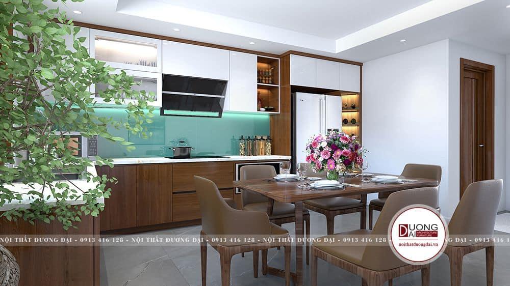 Mẫu phòng bếp nhỏ ấm cúng với nội thất gỗ