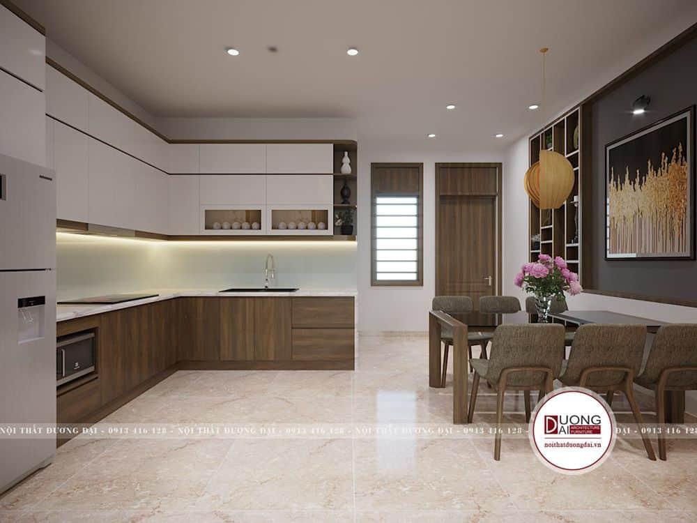Phòng bếp có thể đặt cửa sổ nhỏ để đón ánh sáng trong nhà phố 5m