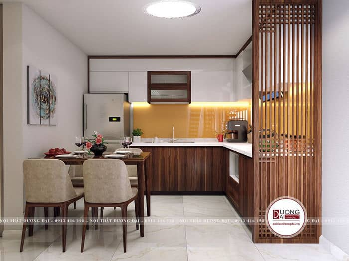 Mẫu phòng bếp nhà ống đơn giản dành cho gia đình trẻ
