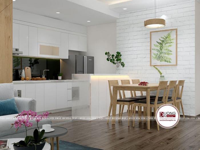 Phòng bếp chung cư với thiết kế tủ bếp và đảo bếp trắng tinh khôi