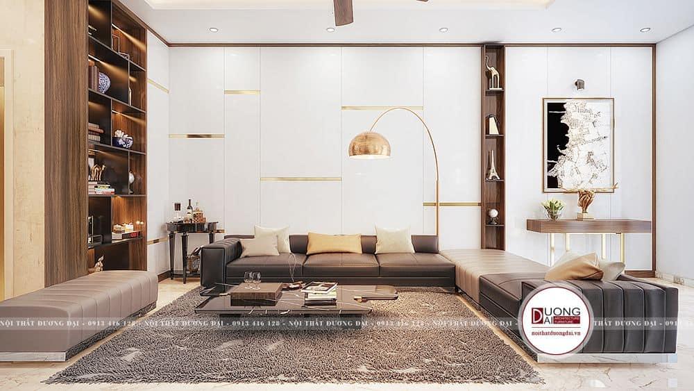 Mẫu phòng khách hiện đại với sofa chữ U lớn