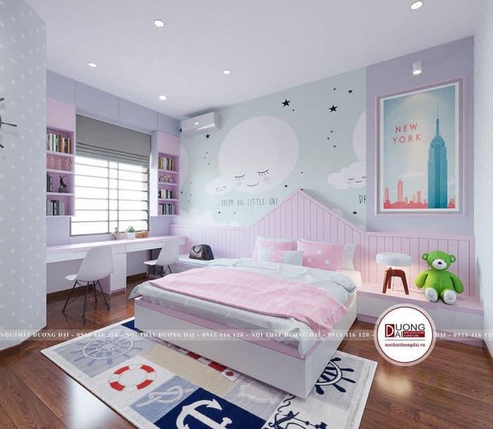 Thiết kế phòng cho bé gái với cửa đặt ở góc học tập