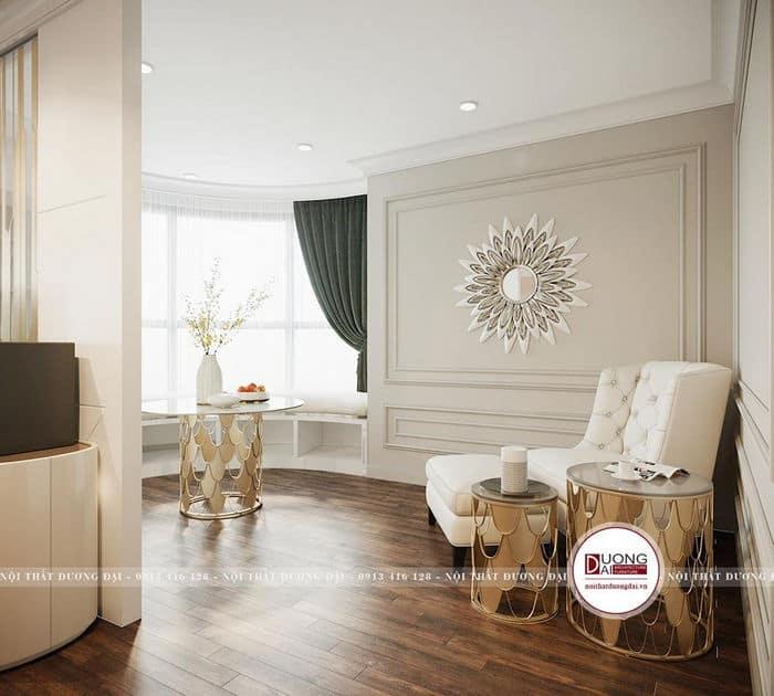 Phòng diện tích lớn có thể lựa chọn cửa sổ cong để ngắm cảnh và đọc sách