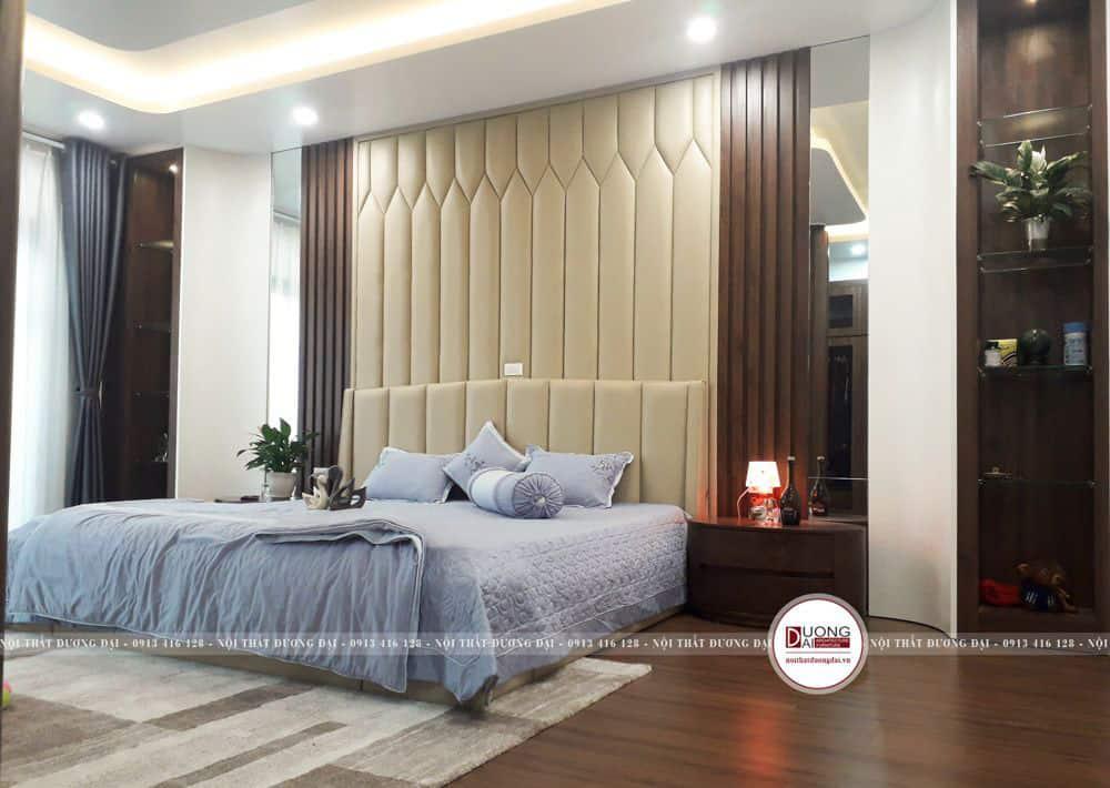 Thiết kế phòng ngủ sang trọng với kệ tủ gỗ sồi