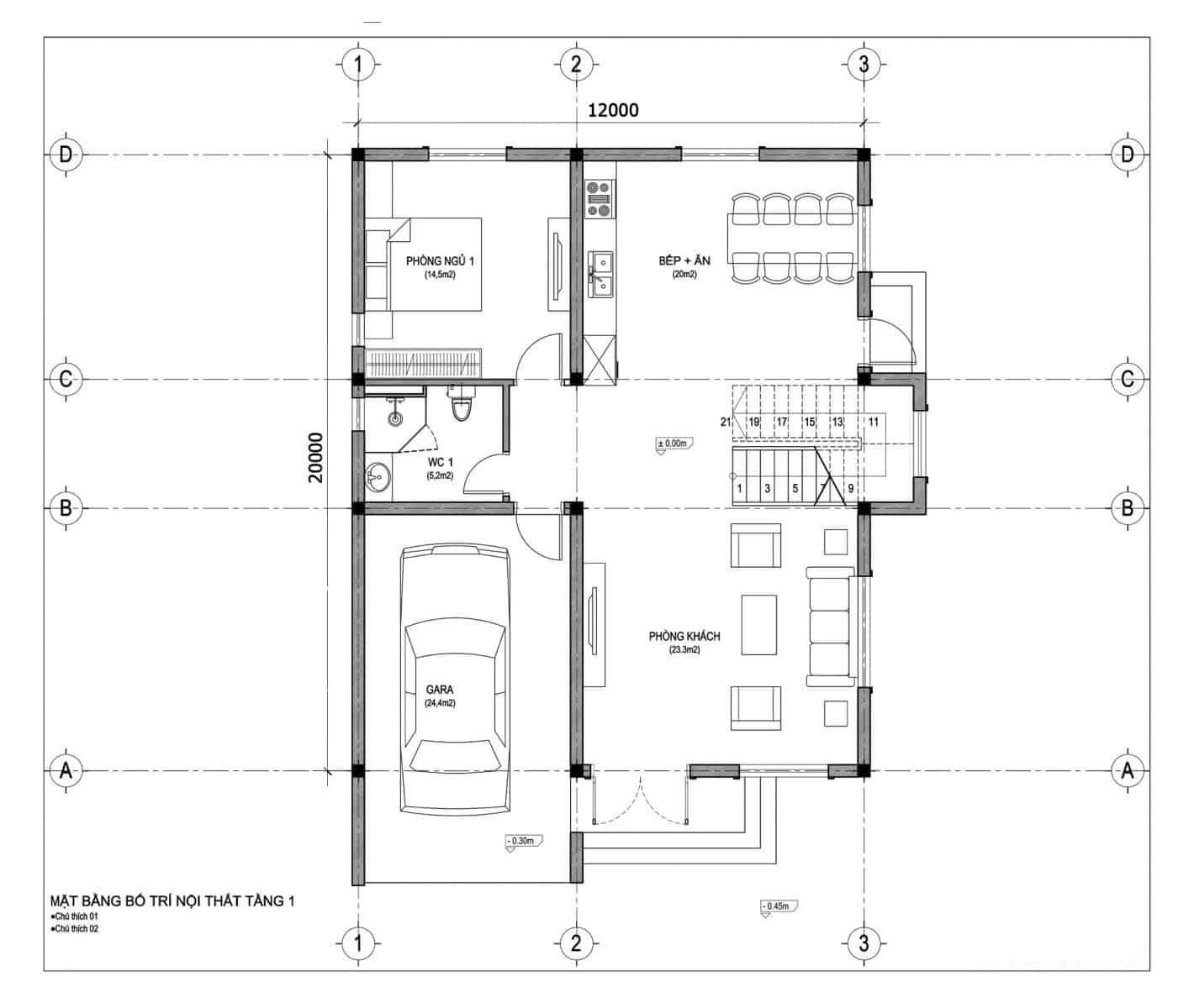 thiết kế biệt thự 8x13m