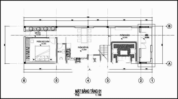 thiết kế nhà 2 tầng 5x17m