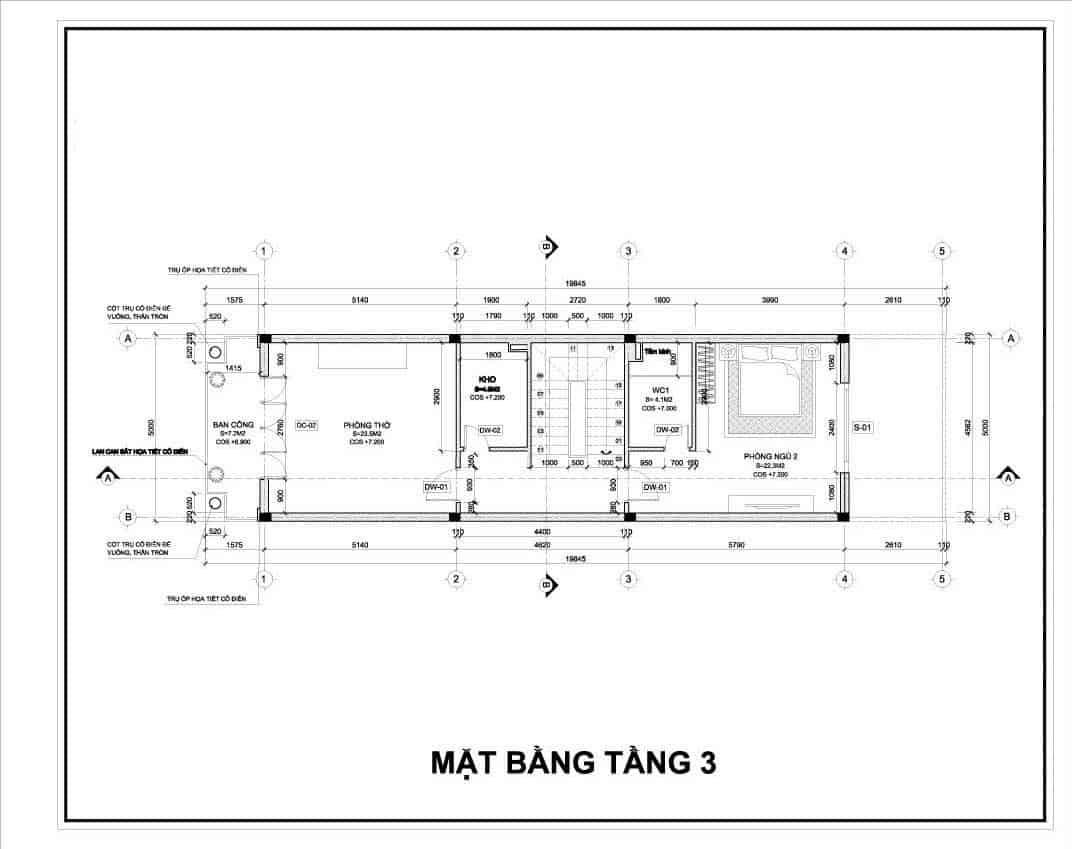 thiết kế nhà 3 tầng 5x25m