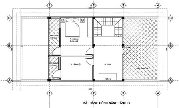 thiết kế nhà 7x15m 2 tầng
