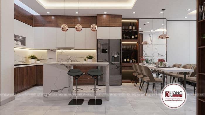 Đảo bếp có thể sử dụng làm quầy bar mini của phòng bếp nhỏ