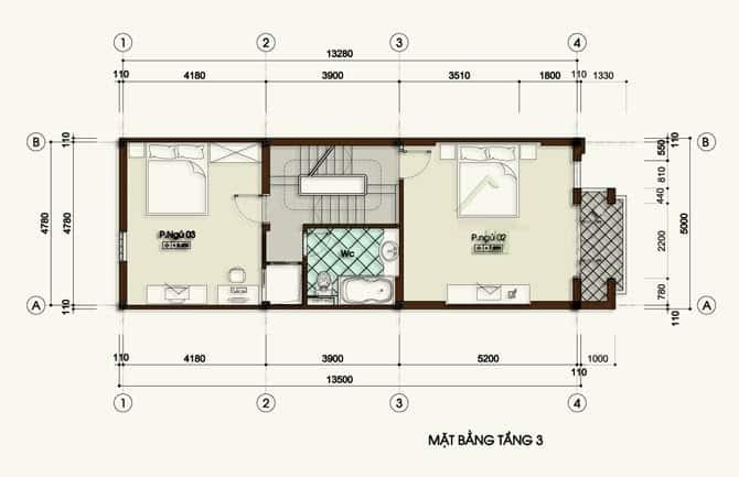 thiết kế nhà lệch tầng 5x13m