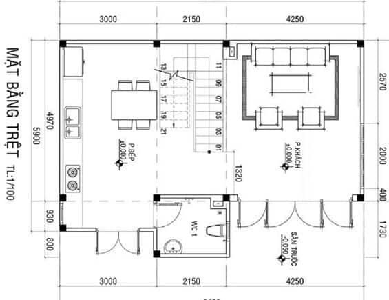 thiết kế nhà mặt tiền 9m sâu 5m