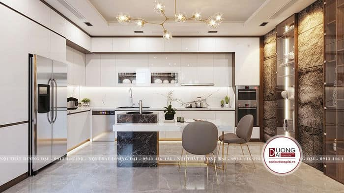 Nội thất phòng bếp sử dụng gỗ chống ẩm lõi xanh MDF