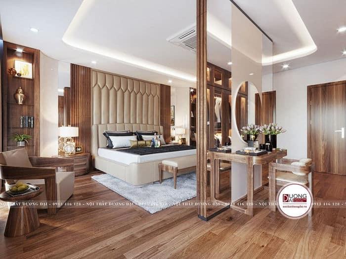 Phòng ngủ ấn tượng với kiểu dáng độc đáo của nội thất gỗ óc chó