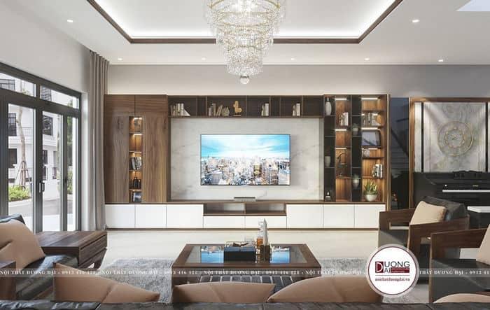 Tủ trang trí trong phòng khách với vẻ đẹp độc đáo và hiện đại