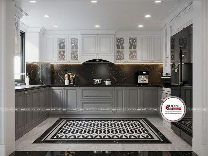 Tủ bếp tân cổ điển sử dụng vật liệu gỗ tự nhiên và đá marble cao cấp