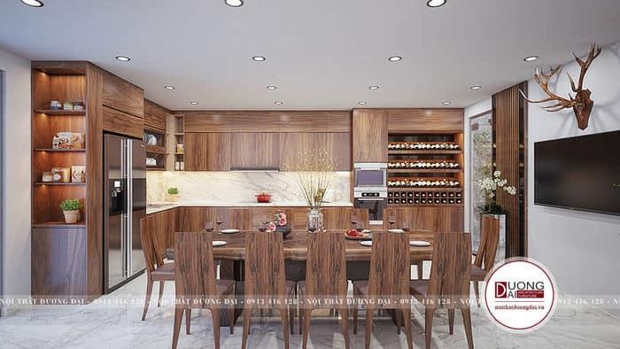 Phòng bếp đẹp ấn tượng nhờ đường vân gỗ óc chó