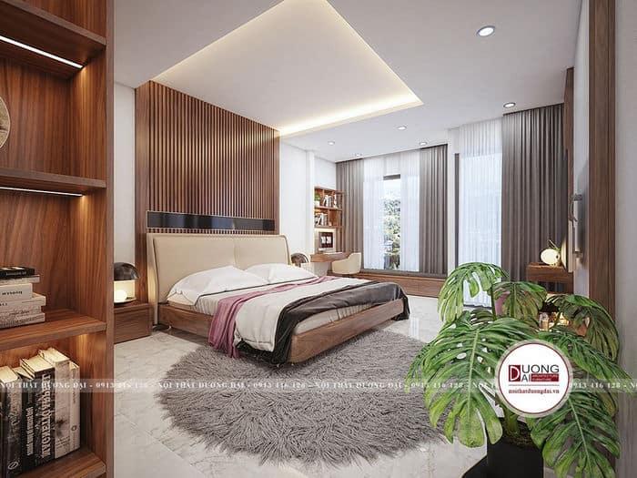 Nội thất phòng ngủ sang trọng với tường kính lớn hiện đại