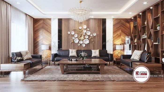 Sofa gỗ óc chó siêu xa hoa cho phòng khách đẹp