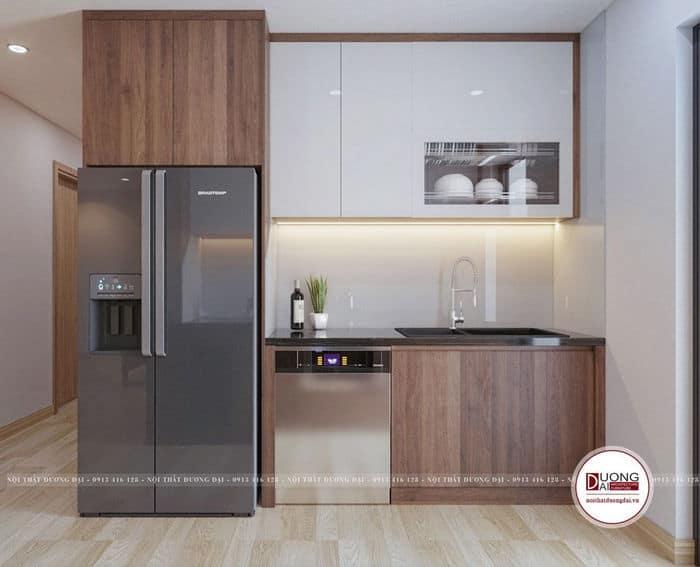 Chất liệu gỗ công nghiệp được sử dụng rất hoàn mỹ trong không gian bếp