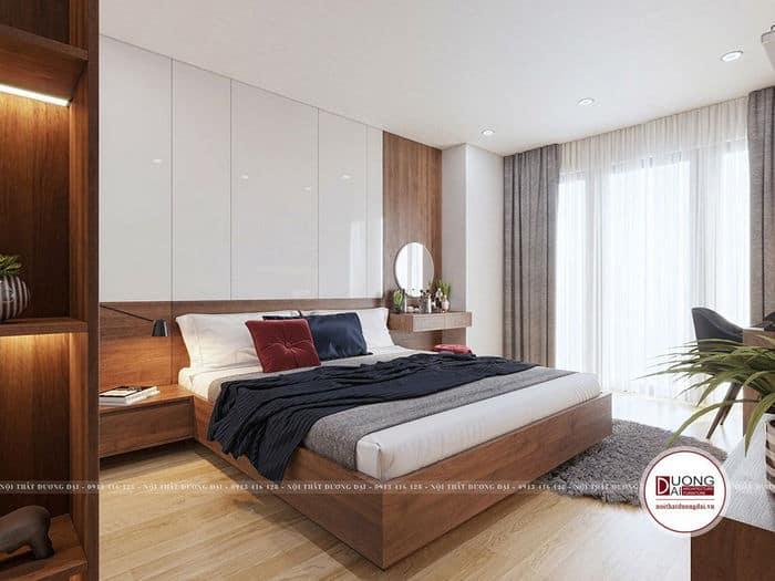 Cách phối màu hiện đại với gam trắng - nâu - ghi sáng cho phòng ngủ