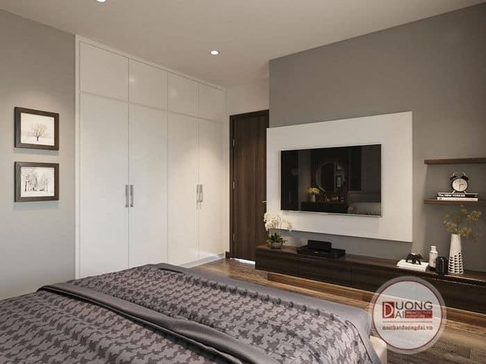 Mẫu tủ quần áo 4 cánh âm tường màu trắng hiện đại cho chung cư