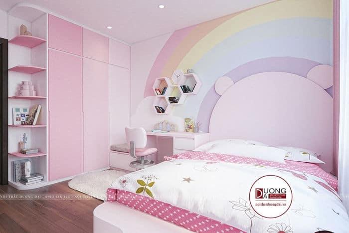 Phòng ngủ cho bé gái lại có màu hồng nữ tính