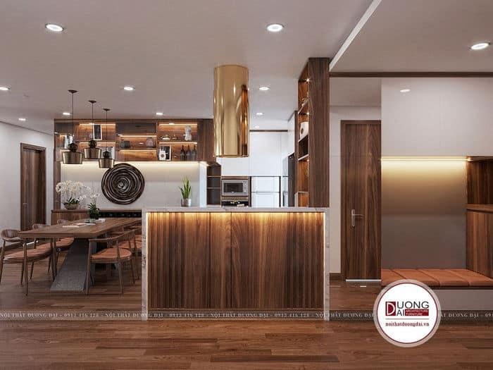Thiết kế phòng bếp tiện nghi và sang trọng với màu gỗ óc chó