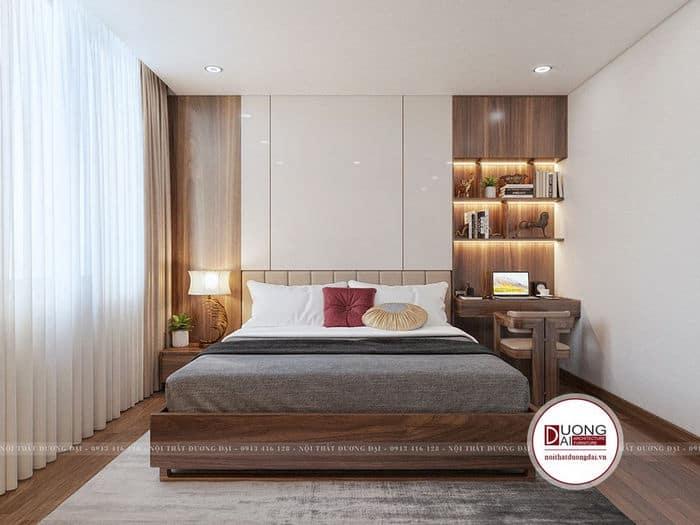 Phòng ngủ Master đẹp với gam màu nâu trầm