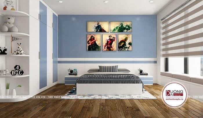 Thiết kế phòng màu xanh dương cá tính được các bé yêu thích nhất