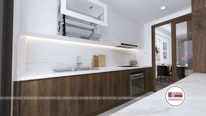 Tủ bếp trắng - nâu gỗ óc chó ấn tượng với kiểu dáng chữ i nhỏ
