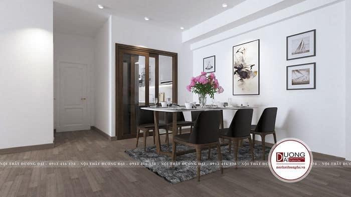 Không gian bàn ăn ấm cúng và đầy tiện nghi làm từ gỗ tự nhiên