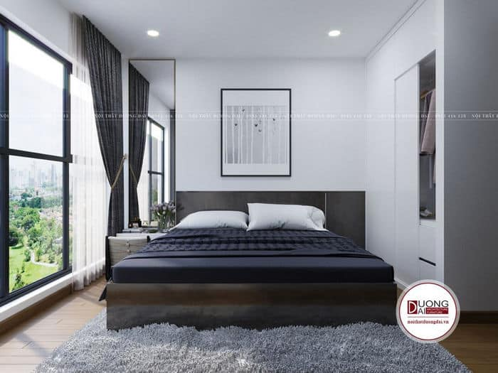 Phòng ngủ nhỏ nhưng bài trí hiện đại có không gian mở