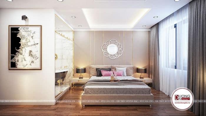 Không gian phòng ngủ master sử dụng chất liệu kính, kim loại