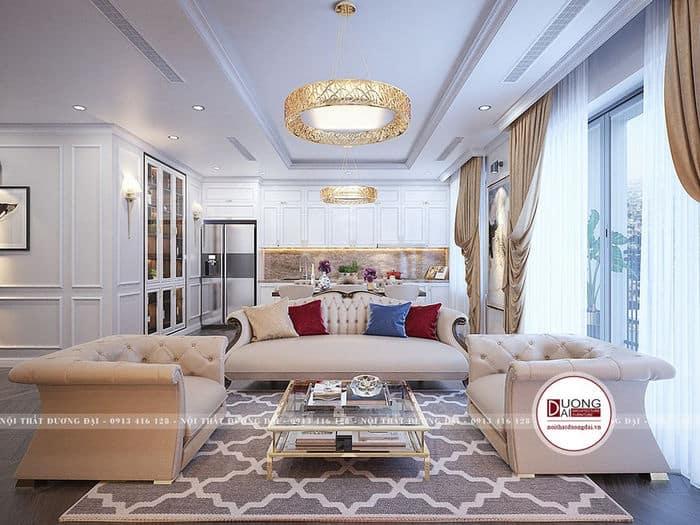 Phòng khách của căn hộ chung cư phong cách tân cổ điển