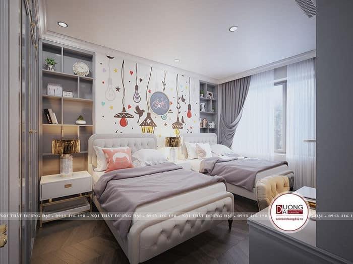 Phòng ngủ rộng rãi cho 2 bé với giường đôi cùng cách bài trí xinh xắn
