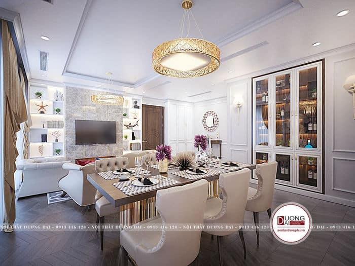 Thiết kế phòng ăn chung cư tân cổ điển quý phái với gam màu be nhạt