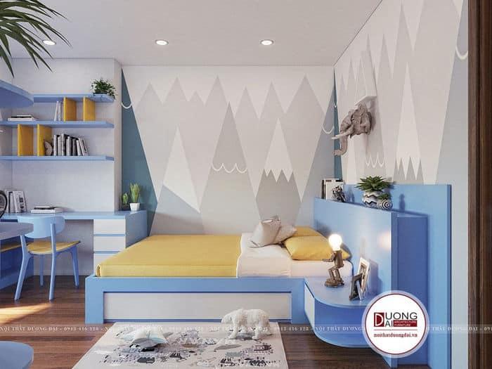 Phòng ngủ của bé trai và bé gái có nét tinh nghịch và hiện đại