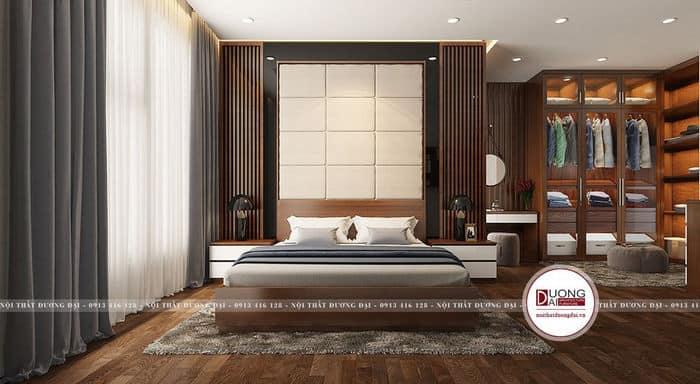 Phòng ngủ Master cao cấp siêu tiện nghi với tủ cánh kính