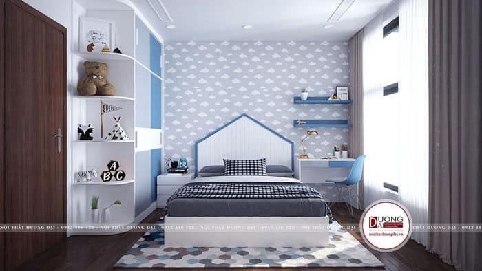 Thiết kế phòng ngủ bé trai siêu độc đáo với gam màu xanh