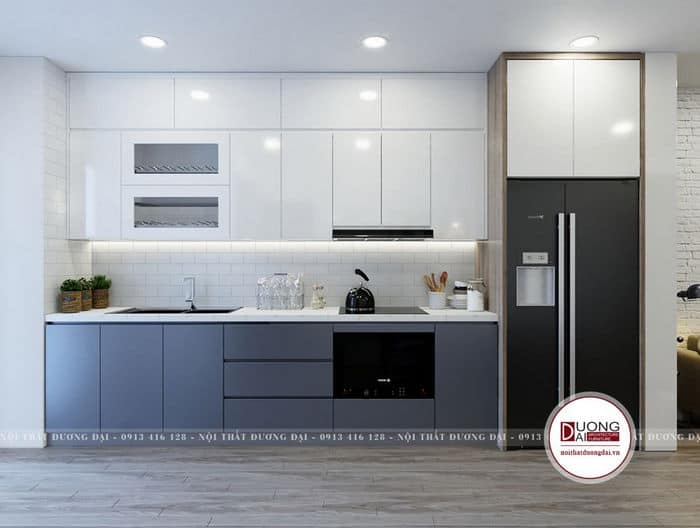 Thiết kế bếp màu sắc trắng - xanh cá tính cho gia đình trẻ