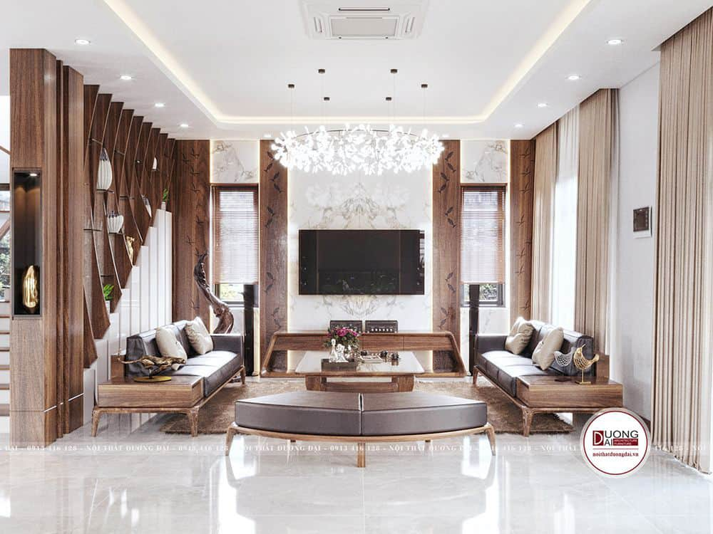 Phòng khách sang trọng với bộ sofa gỗ tự nhiên
