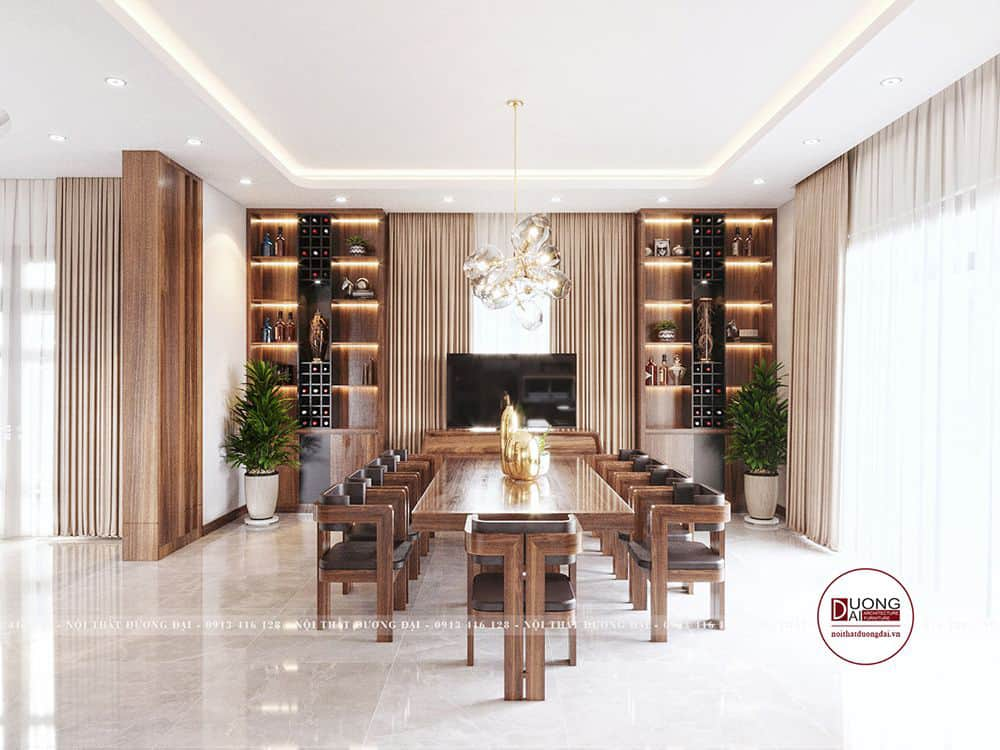 Tủ rượu lớn áp tường ở phòng ăn thêm sang trọng